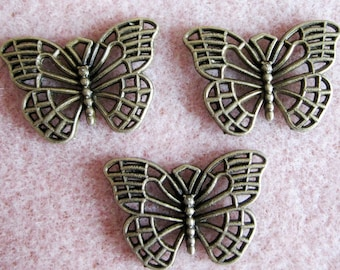 Tibetan Bronze Butterfly Charm Pendants 18mm  x 25mm 835