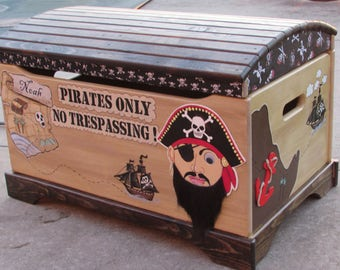 Large Hand Painted Pirate Toy Chest,Pirate Chest, Kids Toy Chest,Children's Toy Chest,Toy Storage,Treasure Chest, Treasure Map, Pirate Decor