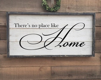 there's no place like home, vintage wood sign, framed shiplap