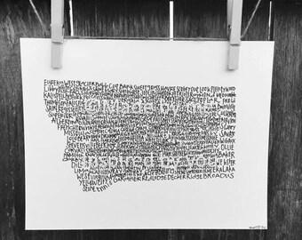 Typography Print. Handwritten. Art. State Art. Montana Art. Montana cities and towns. 8.5 X 11. Montana Wall Art. Montana Unique Gift