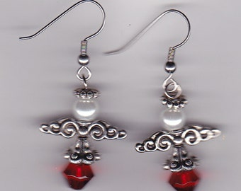 Angels Earrings- Ornate - Silver Tone Charms -Beaded