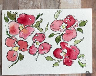 Watercolor Flower Card, Hand Painted Flower Card, Homemade Flower Card,