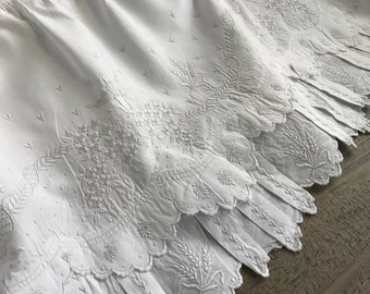 French White Linen Corset Petticoat, Floral Embroidery, Wedding, Bridal, Victorian Era, Period Clothing