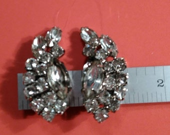 Vintage, Rhinestone Cluster Earrings. Gently Used. Lot X