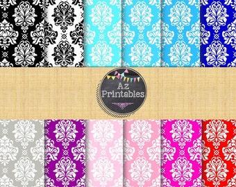 Digital scrapbook paper, instant download, downloadable, printable, damask, pattern, design, texture, color