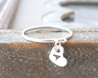 Sterling Silver Charm Ring, Silver Heart Ring, Heart Charm Ring, Silver Stacking Ring, Custom Ring, Hand Stamped Ring, Initial RIng