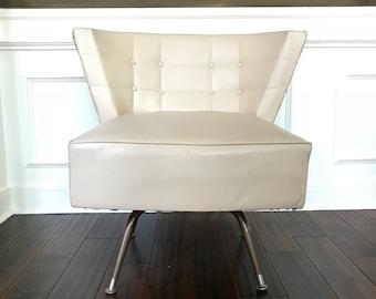 Mid Century Danish Swivel Chair Tufted Barrel Tub Slipper Chair Cream
