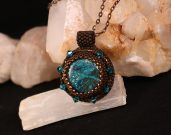 Chrysocolla Feminine Empowerment Bead Embroidery Necklace
