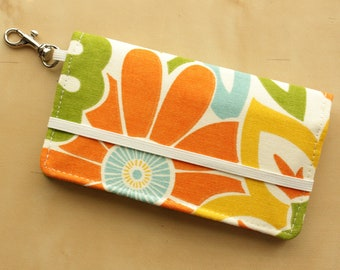 iPhone Wallet - Cell Phone Wallet - Orange, Yellow, Blue Floral Print - Smart Phone Case