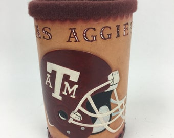 Beer Holder, Cup Holder, Beverage, Hand Tooled Leather, Texas A&M Aggie Football TAMU, Personalized, Custom