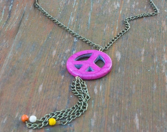 Long Hanging Peace Sign Necklace on Brass Chain