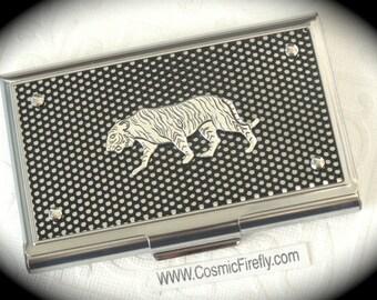 Silver Tiger Business Card Case Steampunk Card Case Black Mesh Industrial Design Tiger Card Holder Jungle Tiger Case