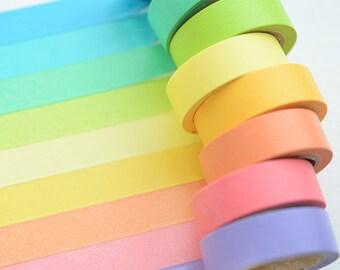 1 set 10 Rolls Rainbow Washi Tape (7mm X 5MT.) art decoration, masking tape, agenda, scrapbooking, ITA, DYW, Novelty, fast shipping