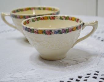 Vintage Crown Ducal Cup Set of 2 Charm Floral Pattern Gainsborough Made in England Replacement PanchosPorch