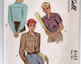 1940's McCall Boy's Button-Up Shirt Pattern - Size 12 - No. 6165