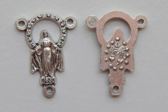 5 Rosary Center Piece Findings, Miraculous, Mary Immaculate, Silver Color Oxidized Metal, Rosary Center, Religious, Hardware