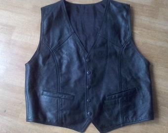Black Leather Vest size Medium
