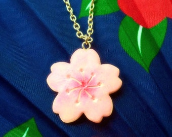 Ready to ship Sakura necklace Cherry blossom necklace Pink sakura necklace Flower necklace Harajuku necklace Pastel pink flower jewelry