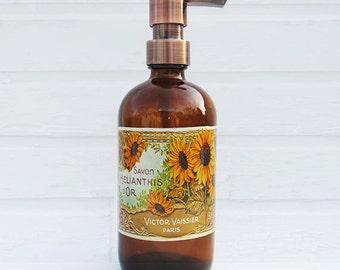 Sunflower Soap Dispenser |  Country Kitchen Decor | Sunflower Decor | Lotion Dispenser | Bathroom Accessories