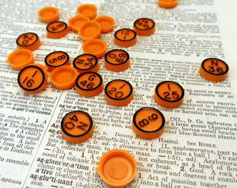 Vintage Orange Bingo Pieces, 25 Plastic Numbered Disks, 1981 Call Numbers, Mix Media Art, Assemblage, Altered Art, Craft Project, Journals