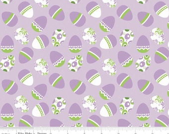 Holiday Easter Eggs Purple - Purple Banner Coordinants  -  Riley Blake Designs 1 Yard Cut - Easter Fabric