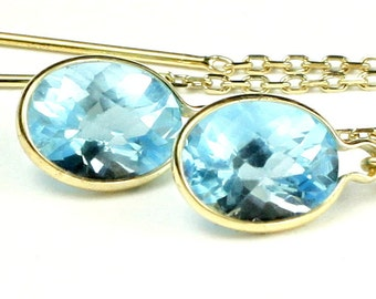 Swiss Blue Topaz, 14KY Gold Threader Earrings, E005