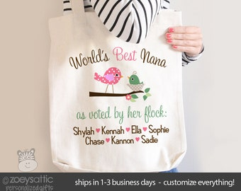 World's best nana tote voted by flock personalized tote bag - great Mother's Day gift MMGA1-020-B