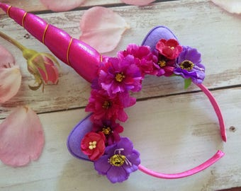 Unicorn Purple Couture Flower headband- party headband-Spring flower headband- Birthday party- celebration