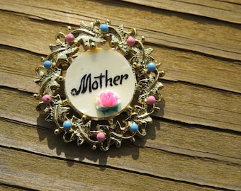 Vintage Mother Costume Jewelry Wreath Pin or Brooch