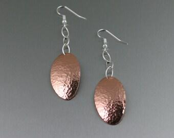 Hammered Copper Oval Drop Earrings - Copper Dangle Drop Earrings - 7th Anniversary Gift - Handmade Copper Jewelry - Copper Earrings