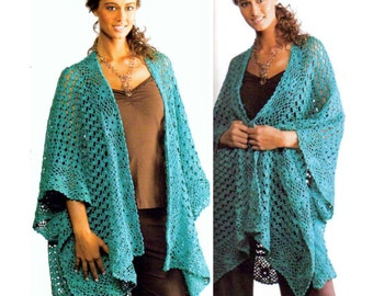 Vintage Crochet Pattern  Ruana Shawl Shrug Cape Wrap Cloak INSTANT DOWNLOAD PDF