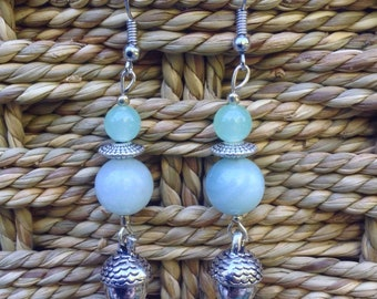 Pastel Green Acorn earrings
