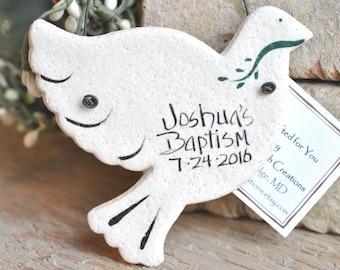 Dove Baptism Favors Salt Dough Ornaments Personalized Wedding / Baptism Set of 10 Napkin Rings