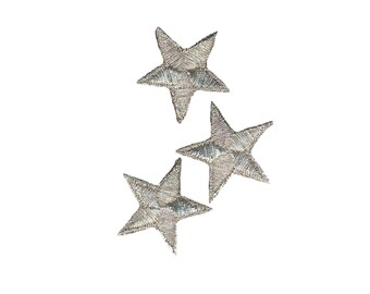 Silver Stars Iron On Applique, Silver Stars Iron on Patch, Stars Applique, Fun Patch, Kids Patch, Embroidered Patch