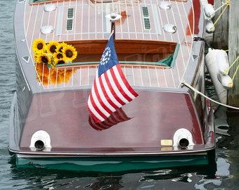 Antique Wooden Boat - Color Photograph