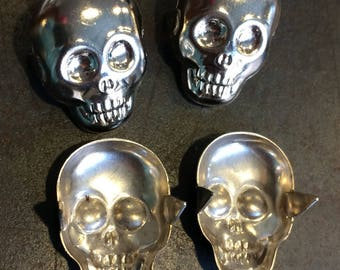 Awesome Metal Skull Studs, Silver Chrome Color, Large