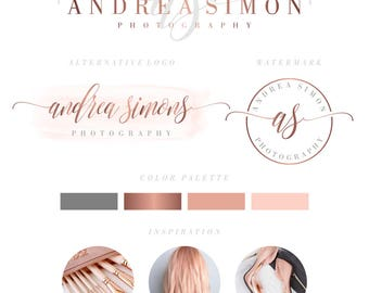 Branding Package, Branding Kit, Premade Logo, Watercolor Logo, Pink Logo, Rose Gold Logo,Calligpaphy, Photography Logo, Wedding Logo