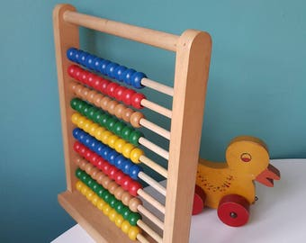 Vintage, Retro, 1960s, Wooden,  Abacus, Toy