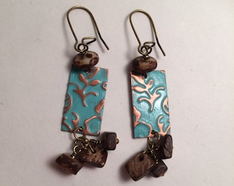 Winter Skies. Turquoise enameled and floral embossed copper earrings with Czec glass and wooden beads. Rustic, Boho, Earthy, Woodland style.
