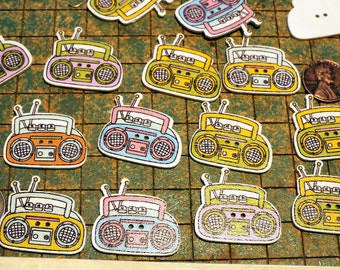 25 Boombox radio, colorful wood buttons, 2 hole, green, red, pink, yellow, blue, sewing, crafts, colorful, scrapbooking, maker, whimsical