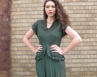 Vintage 1940s POM POM Dress 40s Peplum Dress Forest Green Dress Rayon Crepe Short Sleeve Midi Knee Length Dress Party Formal Gown S/M