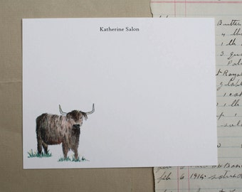 Highland Cow Farm Custom Notecard Stationery. Thank You, Any Occasion, Personalize Watercolor Print, Set of 10.