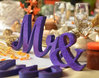 TOP table  MR.& MRS. wooden letters wedding decoration, freestanding Mr and Mrs wedding signs for sweetheart table