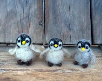 Felted Miniature penguin Baby penguin Needle felt animal Collectible Dollhouse mini Woolen Waldorf toy doll Cute soft figurine gift Penguin