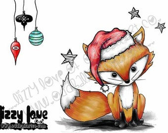 Christmas Kawaii Fine Art Giclee Print From My Original Painting Titled Mr Sweets The Fox IMG# 167 by Lizzy Love