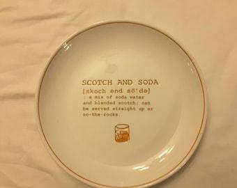 Scotch and Soda recipe plate Vintage