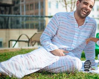 Cotton Lounge wear, UNISEX, Long Sleeve Organic Adult pajamas, Handmade pajamas, Blah Blah print, Matching pjs, Family pajama sets, Jammies