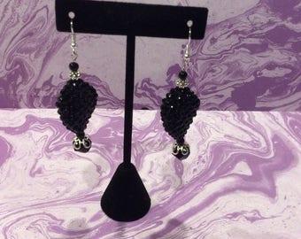 FREE SHIPPING, Black twist sparkle acrylic earrings