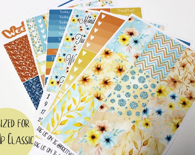 Happy Planner Stickers - Fits Classic Happy Planner - Summer Floral Planner Stickers - Ala Carte Weekly Sticker Kit - Floral Planner Sticker