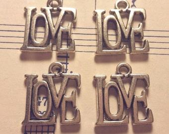 Love Charms -10 pcs. - Silver Love Charm - Antique Silver Charm - Love Charm - Charms - Silver Charms